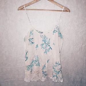 Printed white flowy cami